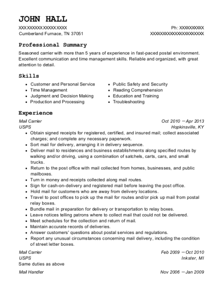 Mail Carrier resume format Tennessee