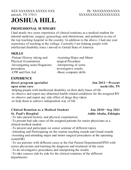 direct program specialist resume template Tennessee