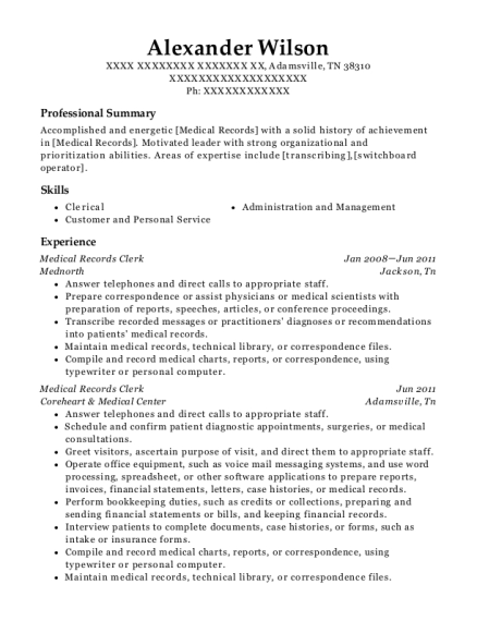 Medical Records Clerk resume example Tennessee