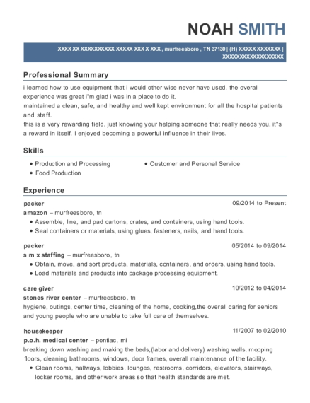 Packer resume template Tennessee