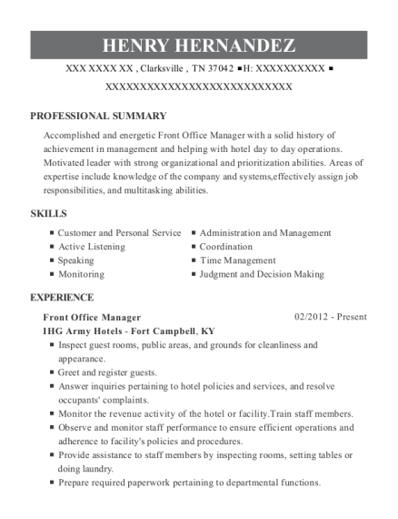 Front Office Manager resume sample Tennessee