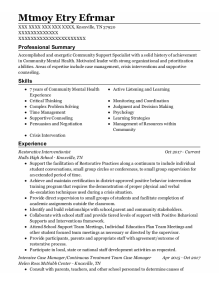 PACT Community Support Specialist resume format Tennessee