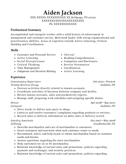 Commissary Supervisor resume format Tennessee