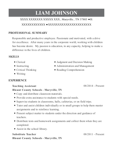 Teaching Assistant resume example Tennessee