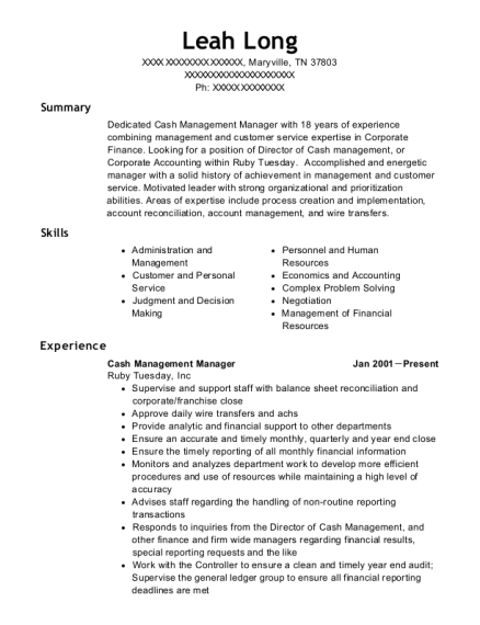 Cash Management Manager resume format Tennessee
