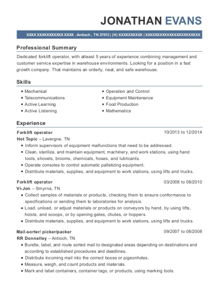 Forklift Operator resume example Tennessee
