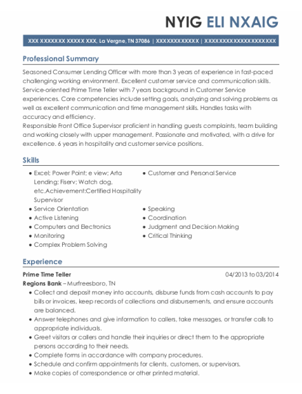Front Office Supervisor resume example Tennessee