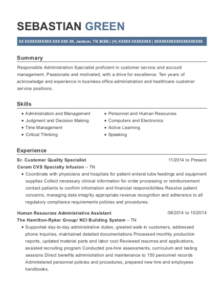 Sr Customer Quality Specialist resume sample Tennessee