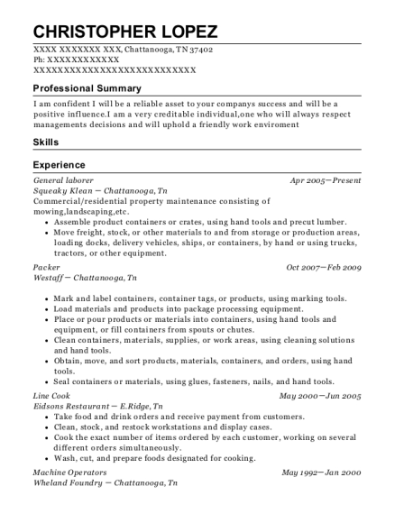 General laborer resume example Tennessee