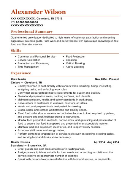 Crew leader resume sample Tennessee