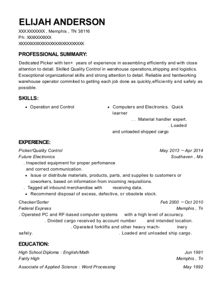 Picker resume format Tennessee
