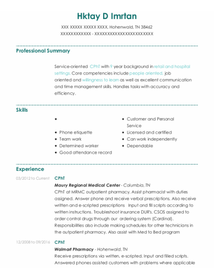 Cpht resume example Tennessee