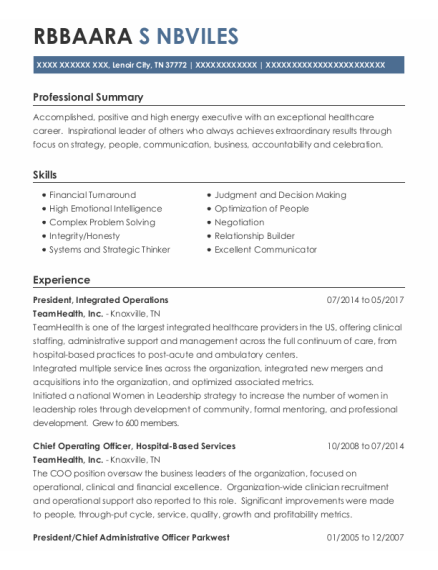 President resume template Tennessee