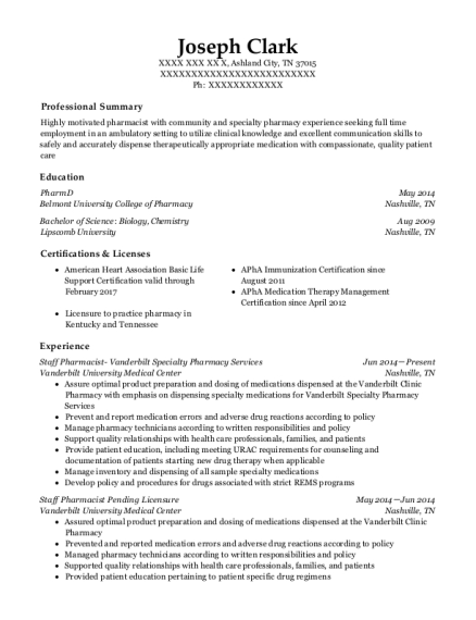 Staff Pharmacist Vanderbilt Specialty Pharmacy Services resume format Tennessee