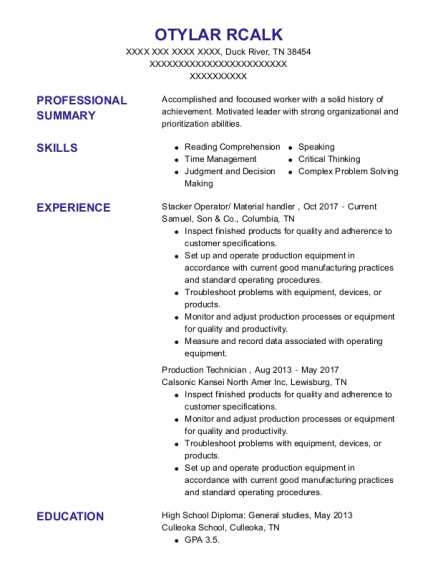Stacker Operator resume format Tennessee