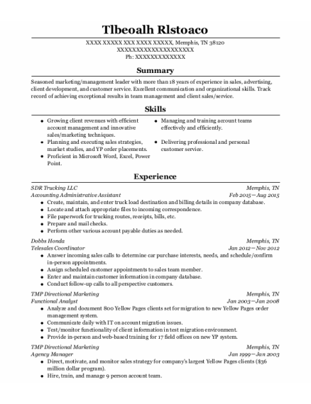 Account Supervisor resume format Tennessee
