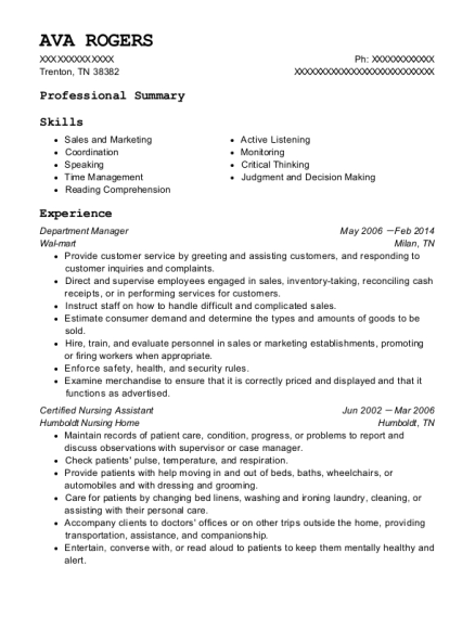 Department Manager resume format Tennessee