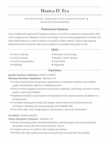 Quality Assurance Technician resume sample Tennessee