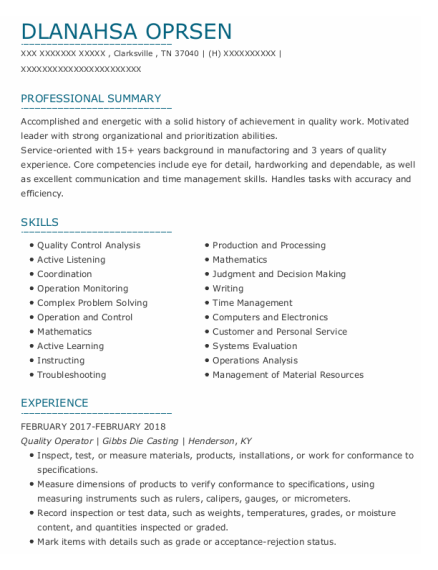 Quality Auditor resume sample Tennessee