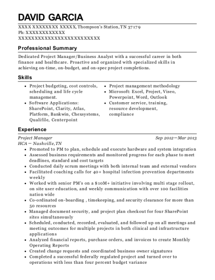 Project Manager resume format Tennessee