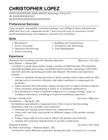 Manueal Gear Grinding and CNC Machine Operator resume sample Tennessee