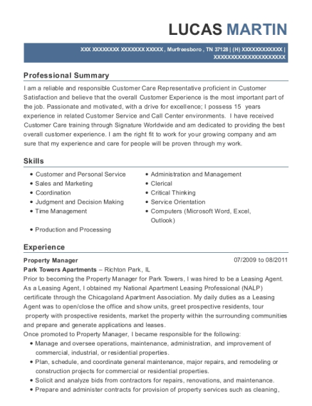 Property Manager resume template Tennessee