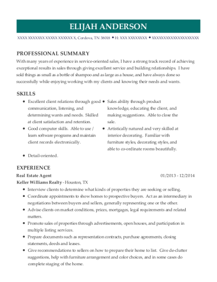 Real Estate Agent resume format Tennessee