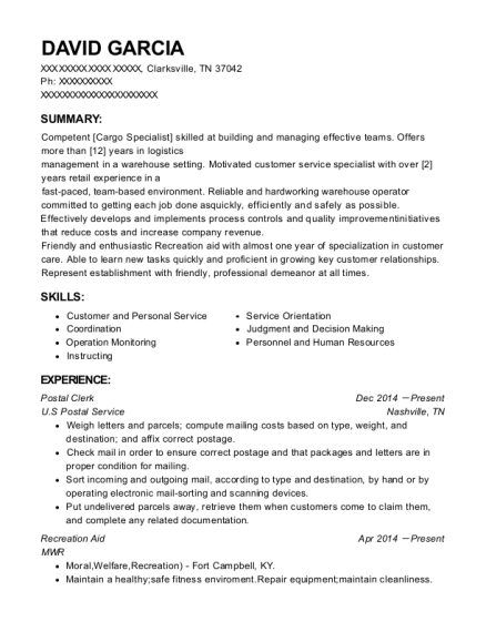 Higman Barge Line Level 4 Tankerman Resume Sample - Gulfport