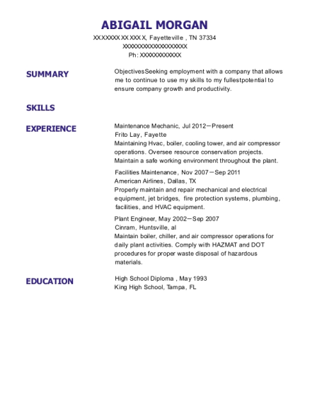 Maintenance Mechanic resume template Tennessee