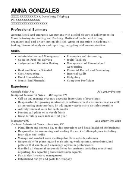 Outside Sales Rep resume format Tennessee