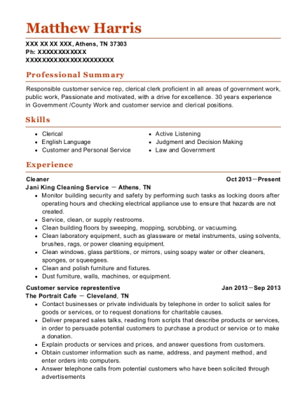 Cleaner resume sample Tennessee