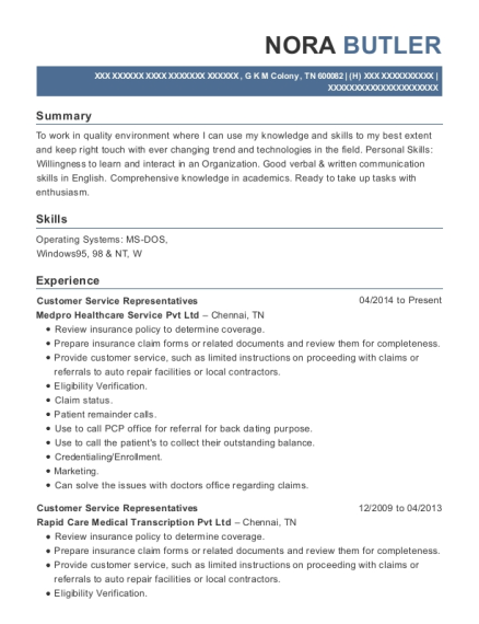 Customer Service Representatives resume template Tennessee