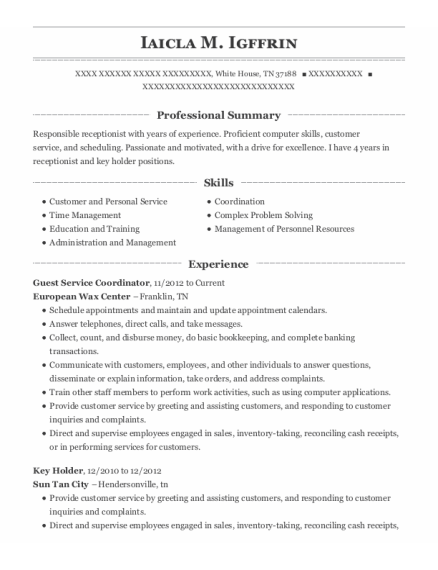 Guest Service Coordinator resume sample Tennessee