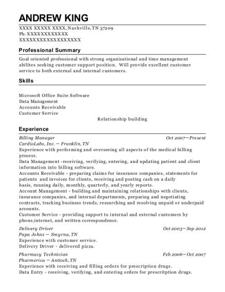 Billing Manager resume sample Tennessee