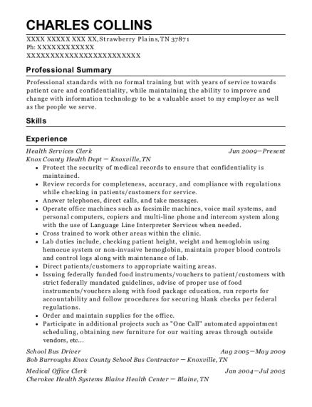 Health Services Clerk resume sample Tennessee