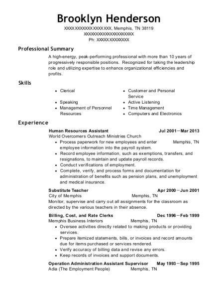 Human Resources Assistant resume format Tennessee