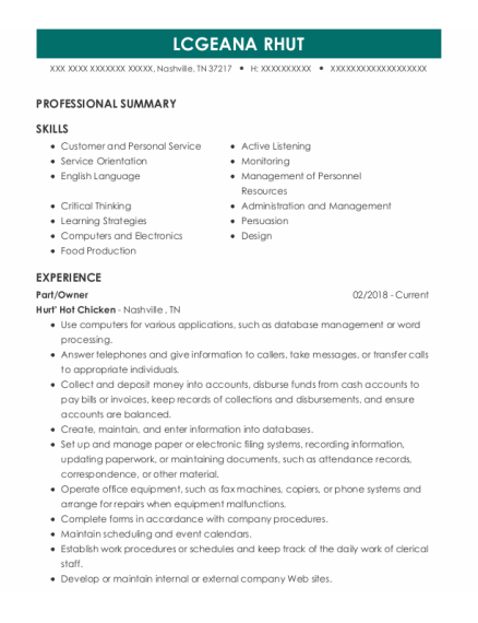Auto Parts resume template Tennessee
