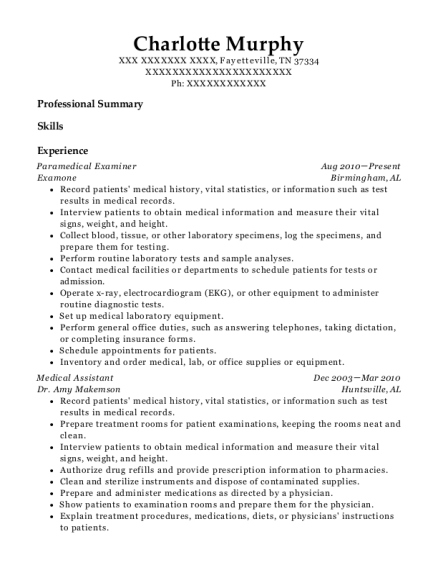 Paramedical Examiner resume template Tennessee