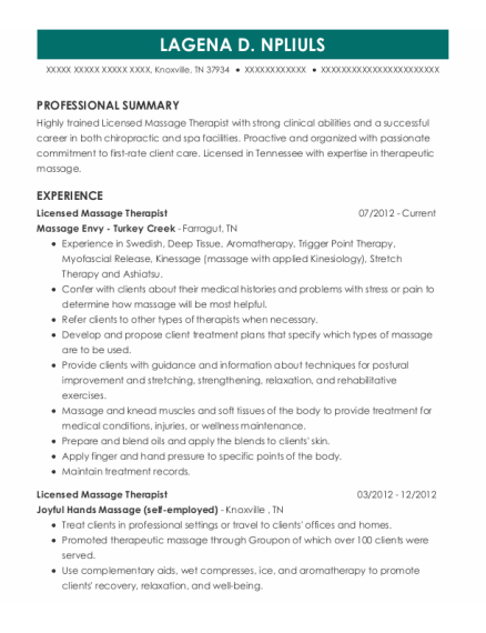 Licensed Massage Therapist resume format Tennessee