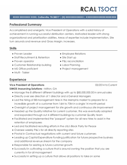 Vice President Of Operations resume sample Tennessee