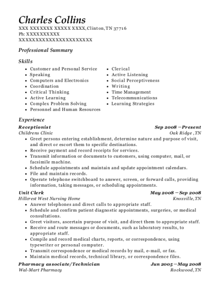 Receptionist resume format Tennessee