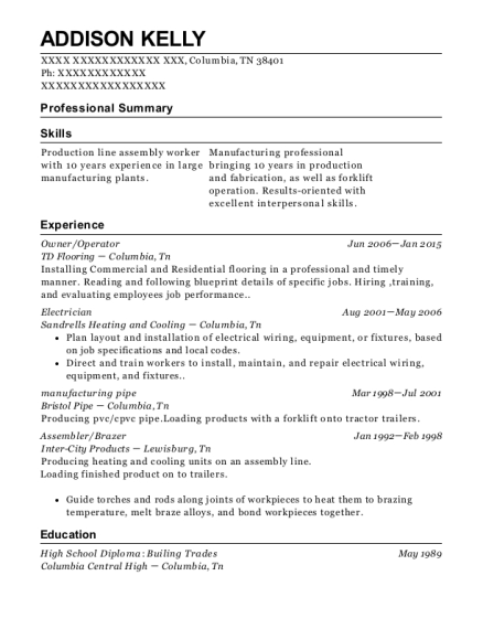Owner resume format Tennessee