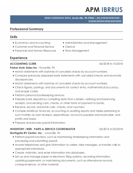 Accounting Clerk resume format Tennessee