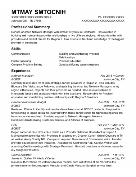 Claims Assistant resume example Tennessee