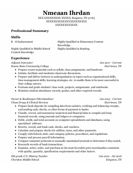 Adjunct Instructor resume sample Tennessee