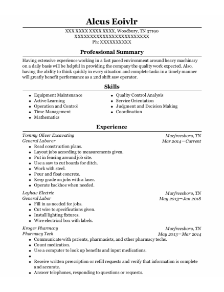 General Laborer resume format Tennessee