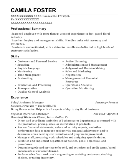Sales resume example Tennessee