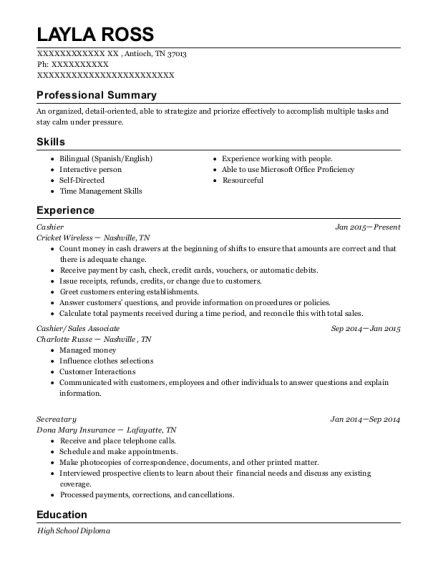 Cashier resume template Tennessee