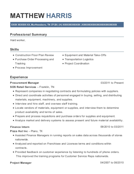 Procurement Manager resume example Tennessee