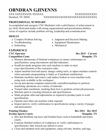 CNC Operator resume format Tennessee